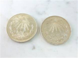 LOT OF 2 COLLECTIBLE 1943 MEXICAN SILVER DOLLAR COINS