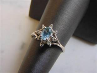 Womens Vintage Estate 14K White Gold Topaz Diamond Ring