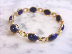 Womens Vintage Estate 14k Gold Blue Lapis Bracelet