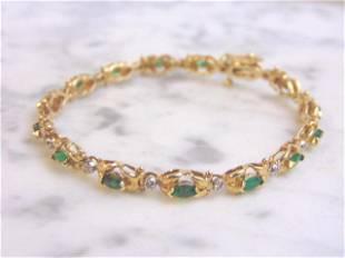 Womens 14k Gold Diamond & Emerald Tennis Bracelet