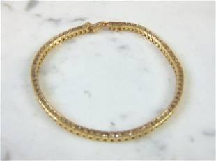Womens Vintage 14k Gold Tennis Bracelet w/ Diamonds