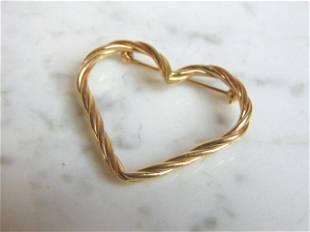 Womens Vintage Estate 14k Gold Heart Brooch Pin