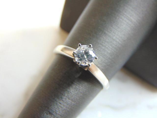 Womens Vintage 14k White Gold & Solitaire Diamond Ring