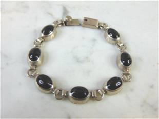 Vintage Sterling Silver Marcasite Stone Link Bracelet