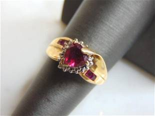 Womens Vintage Estate 10k Heart Shaped Garnet Ring