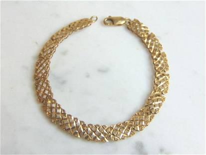 Womens Vintage Estate 14K Gold Filigree Bracelet 6.5g