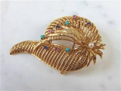 Womens Vintage Estate 14k Gold Victorian Brooch