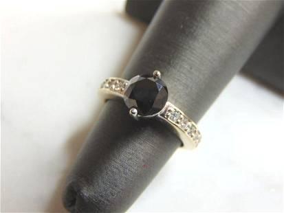 Womens 18K White Gold Black Moissanite Diamond Ring