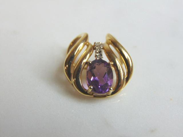 Vintage Estate 14K Gold Amethyst & Diamond Pendant 2.4g
