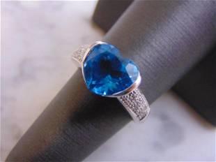 Womens 14K White Gold Topaz & Diamond Heart Ring
