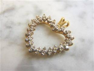 Womens Vintage Estate 10K Gold Diamond Heart Pendant