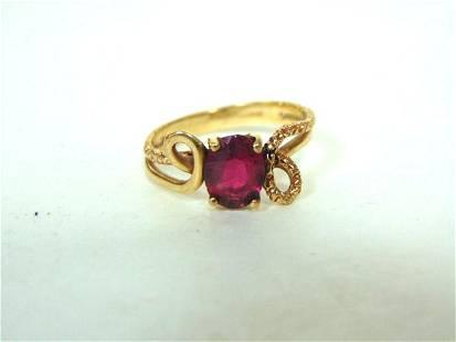 Womens Vintage Estate 10k Yellow Gold Ring w/ Garnet ?