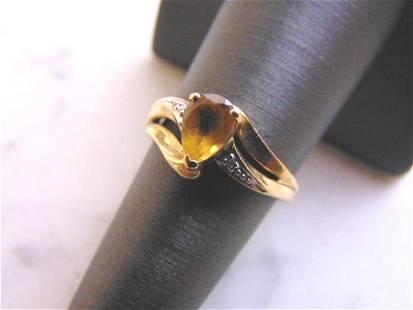 Womens Vintage Estate 10K Yellow Gold Citrine Ring