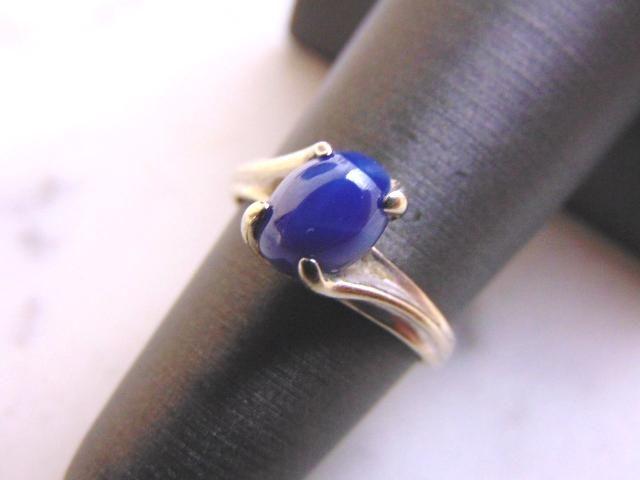 Womens Vintage Estate 14k White Gold Lapis Lazuli Ring