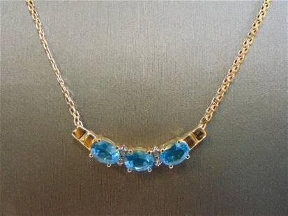 Womens 14k Gold Necklace Topaz & Diamond Pendant