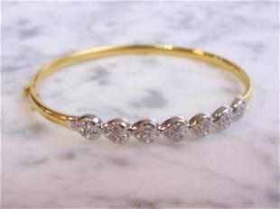 Womens Vintage Estate 18K Yellow & White Gold Bracelet