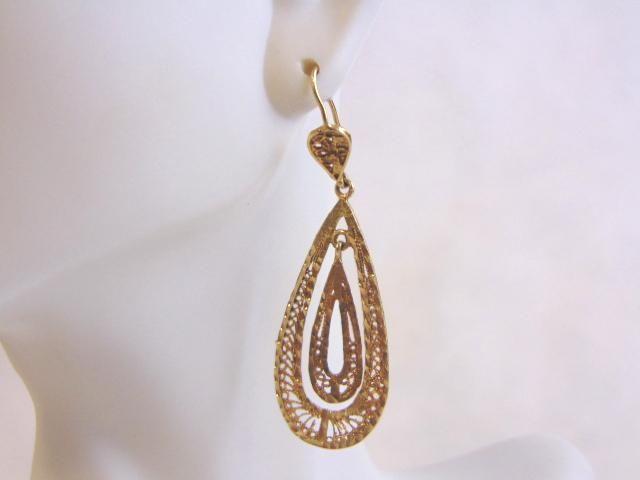 Pr Womens Vintage Estate 14K Gold Hoop Dangle Earrings