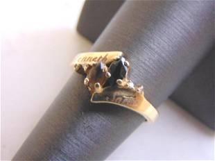 Womens 14k Yellow Gold Sapphire & Smoky Quartz Ring