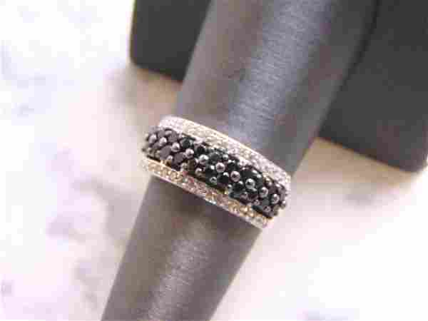 Womens Sterling Silver Ring w/ CZ Stones with Onyx