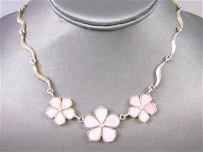 Womens Vintage Estate Sterling Silver Flower Necklace