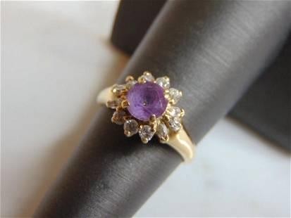 Womens 10k Gold Ring w/ Purple Amethyst ? Stone