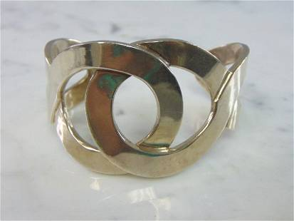 Womens Sterling Silver .950 Modernist Cuff Bracelet