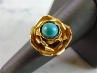 Womens Vintage Estate 18K Gold Flower Turquoise Ring