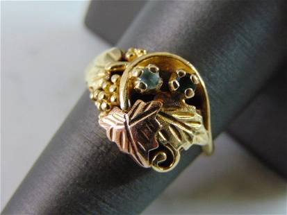 Womens Vintage 10K Gold Grape Leaf Emerald Topaz Ring
