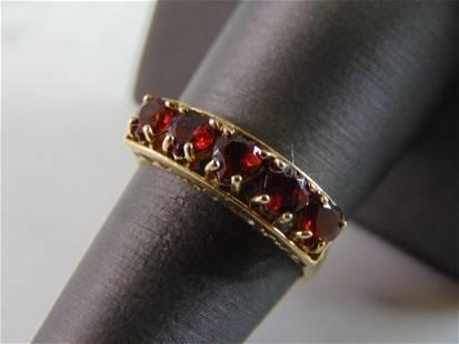 Womens Vintage Estate 10k Gold Garnet Ring
