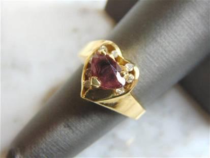 Womens 14K Yellow Gold Heart Tourmaline Diamond Ring