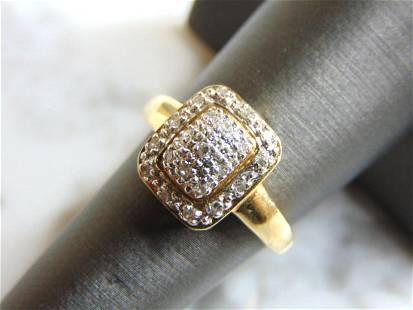Womens Vintage 10K Yellow Gold & Diamond Cluster Ring