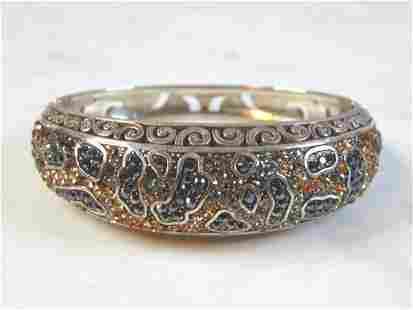 Womens Sterling Silver Rhinestone Beaded Bracelet