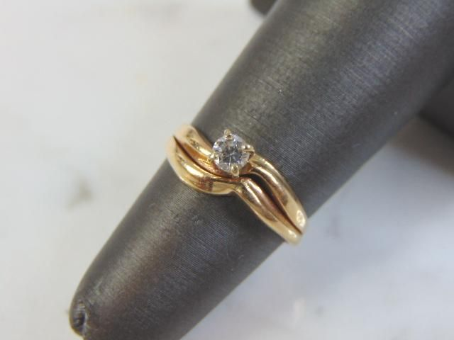 Vintage Womens 14K Yellow Gold, Solitaire Diamond Ring
