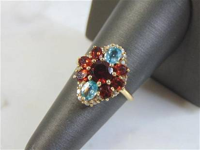 Womens Vintage Estate 10K Gold Ring With Multi Stones