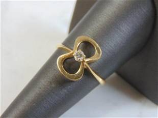 Womens Vintage 10K Yellow Gold Bow Tie Diamond Ring