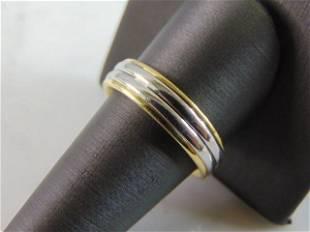 Mens Vintage Estate 18K Yellow Gold Platinum Ring