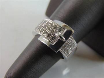 Womens Vintage 14K White Gold Diamond Buckle Ring