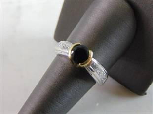 Womens 18K Gold Platinum Diamond Sapphire Ring