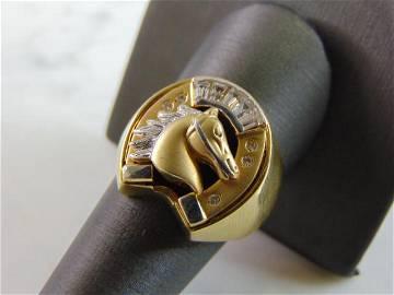 Mens Vintage 18K Gold Horseshoe Diamond DONYA Ring