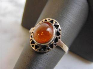 Womens Sterling Silver Ring w/ Citrine or Amber Stone