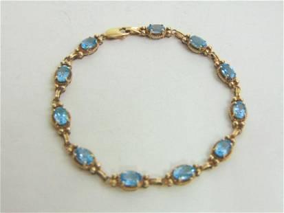Vintage 10K Yellow Gold Tennis Bracelet W/ Topaz