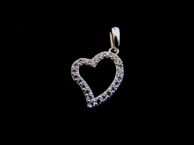 Womens Vintage 14k White Gold Heart Pendant w/ CZ