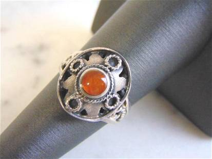 Sterling Silver Ring w/ Citrine or Amber Colored Stone