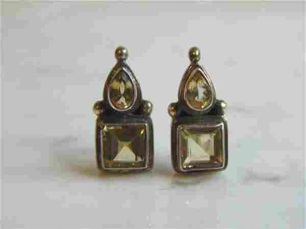 Womens Vintage Estate Sterling Silver CZ Earrings