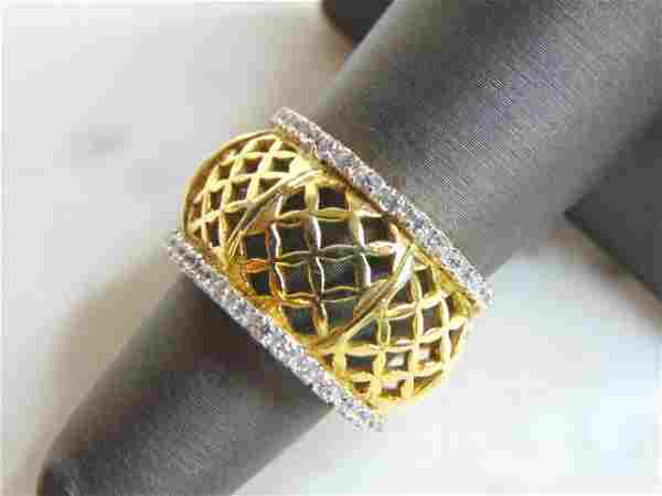 Womens Vintage Sterling Silver Gold Tone CZ Ring