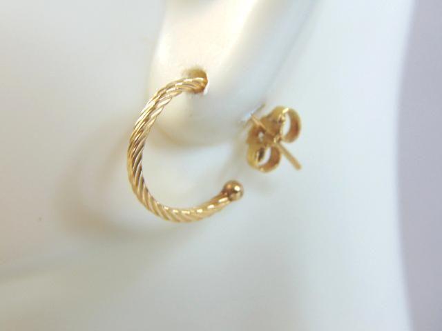 Pr Womens 14K Yellow Gold Hoop Stud Earrings