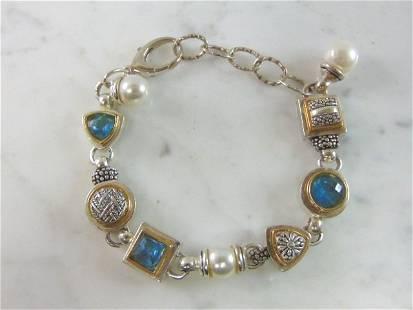Womens Vintage Sterling Silver Aquamarine Bracelet