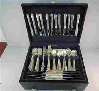 Heirloom Sterling Silver Damask Rose Flatware Set 179Pc