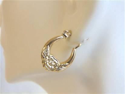 Pr Womens 14K Yellow Gold Floral Rose Hoop Earrings
