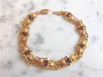 Womens Vintage 10K Gold Garnet or Ruby Tennis Bracelet